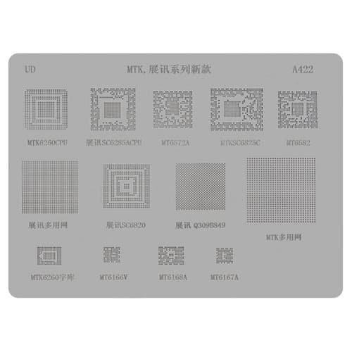 BGA-трафарет A422 для China-phone universal, MT6572A, SC6825C, MT6582, MT6166, SC6820, MTK6260CPU, SC6285A, Q309B849, MT6168A, MT6167A, 13 in 1